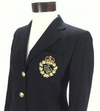 Ralph Lauren Blazer LRL Jacket w Crest Wool Navy Blue Women's 2 Petite $240 New