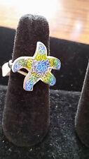 "99.9 Pure Sterling Silver Artisan Blue Green Enamel Starfish Ring Size 8 1/2"""