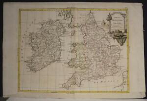 ENGLAND WALES & IRELAND 1776 ANTONIO ZATTA UNUSUAL ANTIQUE COPPER ENGRAVED MAP