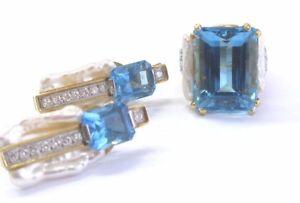 18Kt Emerald Cut Blue Topaz & Pearl Diamond Ring & Earrings Jewelry Set