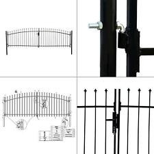 athens style 13 ft. x 5 ft. black steel diy dual swing driveway fence gate |