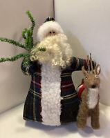 Vintage Old World Santa Claus Bean Bag Bottom Christmas Figure Flannel Coat