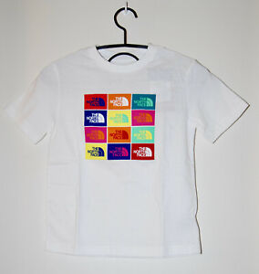 NWT The North Face Boys' White with Multi-Color Graphic Logo SS T-Shirt sz S M L