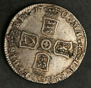 1703 Sixpence Silver Coin Queen Anne Rare Vigo Under Bust EF with Lustre