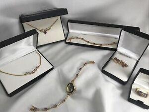 Amethyst CZ 14k Gold Plated Lot Bracelet Necklace Ring Earrings Watch Brooch D1