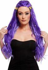 Fortune Teller Wig Ladies Long Purple Gypsy Sytle Fancy Dress Wig + Coins