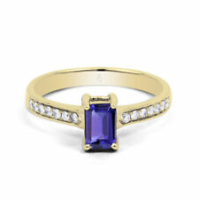 Yellow Gold Tanzanite Solitaire with Accents Engagement Fine Gemstone Rings