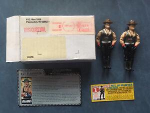 1985 GI JOE Sgt. Slaughter Uncut Red Back File Card Mail Away Leg Variation, Box