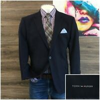 Tommy Hilfiger Flannel Wool Men Sport Coat Blazer Two Button Jacket Size 46R