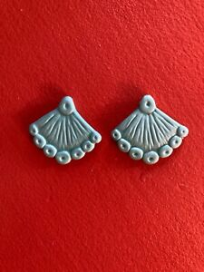 2 MCM Leona Caldwell Vintage Handmade Ceramic Hand Fan Jewelry Earring Units