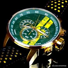 Invicta S1 Rally Racing Green Yellow Gold Plated Leather Chronograph Watch New