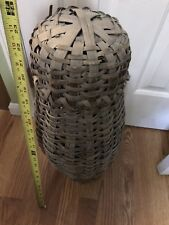Antique Primitive Large L.I. Woven EEL Fish Trap Splint Basket w/ Lid