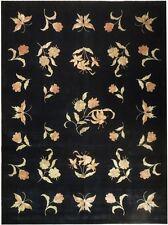 9x12 Fine Wool&Silk Transitional Rug BLACK BUTTERFLY Design