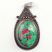 Retro Tibetan silver inlay Ruby in Fuchsite & Turquoise Pendant Bead NN106