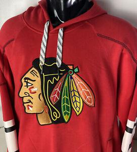 Reebok Chicago Blackhawks Hoodie Sweatshirt Big Sewn Logo Pockets Sz L Face Off