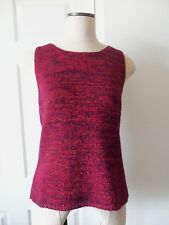 Dana Buchman Red Black Metallic Knit Sleeveless Scoop Neck Sweater - L