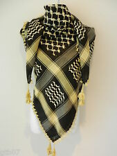 All Gold Black Arab Shemagh Head Scarf Neck Wrap Authentic Cottton Shawl GD-BK