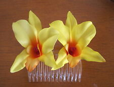 """Double 3"""" Yellow,Orange Orchid Silk Flower Hair Comb,Pinup,Updo,French Twist"""