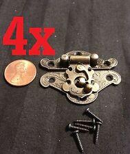 4x mini dollhouse Antique Bronze wood box latch Sets Case Lock hinge small b24