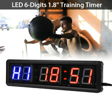 """1.8"""" 6-Digits LED Interval Timer Clock Crossfit Countdown with Remote Control"""