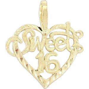 14K Gold Sweet 16 Heart Charm Jewelry 16mm FindingKing