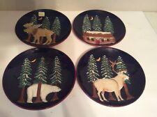 American Atelier Northern Nights Salad Plate (4) Cabin,Polar Bear ,Moose Elf Pin