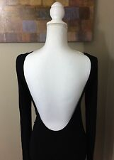 PATRIZIA PEPE Firenze Body Suit SZ 1 Black Open Back Long Top Short Dress