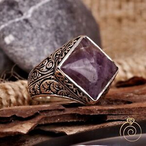Mens Ring Amethyst Gemstone Promise Vintage Engraved Silver Antique Jewelry Size