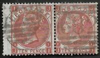 GB 1867 QV SG112 10d Red-Brown Scarce Pair Very Fine Used CV £800++