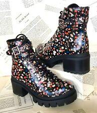 Jeffrey Campbell Combat Boot Platform Black Floral Leather Lace Lug Sole 7 NIB