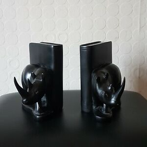 BLACKWOOD Vintage Woodenware, Nicely Carved Rhinos Bookends~A/F