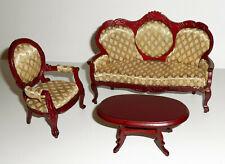 Salottino vittoriano tavolo divano poltroncina Scala 1:12 dolls house miniatura