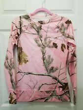 UNDER ARMOUR WOMEN'S REALTREE CAMO /PINK HEAT GEAR TOP SCENT CONTROL Small EUC
