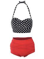 Fashion New Retro High Waist Push Up Bandeau Swimsuit Bikini Set Bathing Suit