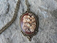 SISTERS, MOTHER, DAUGHTERS, GENERATIONS (HAND PAINTED) CAMEO BRONZE NECKLACE