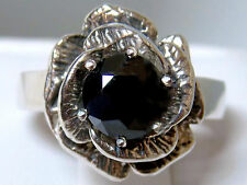 1.50ct black moissanite diamond flower antique 925 sterling silver ring size 5