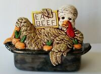 "VINTAGE THANKSGIVING TURKEY ""EAT BEEF"" CERAMIC FIGURE KITCHEN DECOR"