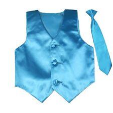Formal Wedding Color Satin Necktie & Vest set Only Boy Baby Toddler Teen 8-20