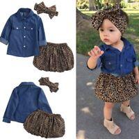Kids Baby Girl Long Sleeve Cowboy Shirt + Leopard Print Skirt + Headband Outfit