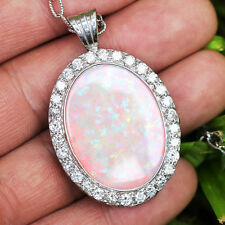 Large Oval Australian Opal Halo Pendant with Diamond's in White Gold 22.34ctw