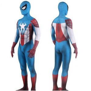 Avengers Captain America Spider-Man Crossover Jumpsuit Cosplay Costume