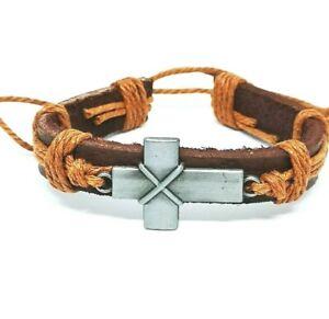 Genuine Leather Adjustable Mens Wristband Bracelets Religious Cross Gift UK