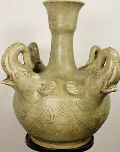 Rhyton jar, 15th century style sukhothai, Thailand. stoneware  ceramic pottery