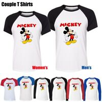 Disney Mickey Mouse happy open Arms Couples T-Shirt Mens Womens Graphic Tee Tops
