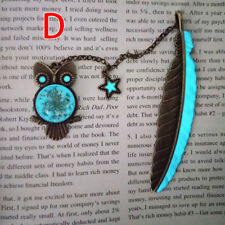 1X Luminous Night Owl Bookmark Label Read Maker Feather Book Mark Stationery  CY