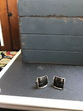 Vintage Earrings Black And Silver Square Screw On Backs