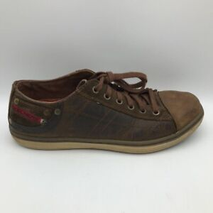 Skechers Mens Pantalone Mf Sneakers Brown 64242 Leather Lace Up Low Top 8.5M