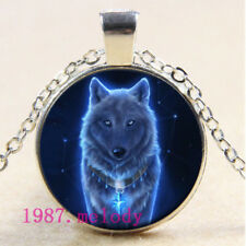 NEW Cabochon Glass necklace Silver/Bronze/Black pendant(blue wolf)#128