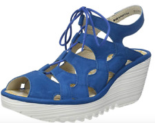 Fly London YEXA Electric BLUE  Strappy Leather Wedge  Sandal US 7.5 - 8 EU 38