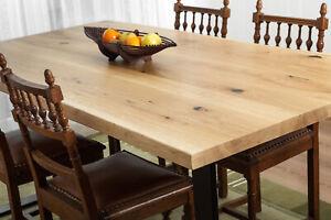 Eichentisch massiv 4cm Eiche Baumkante American Oak m. 2 Tischkufen aus Metall